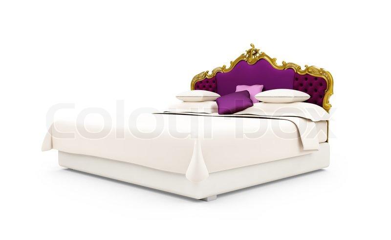 isoliert klassisches bett ber einem wei en hintergrund. Black Bedroom Furniture Sets. Home Design Ideas