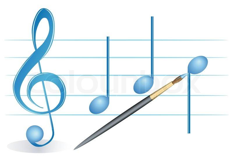 illustration einer bürste, violinschlüssel und noten auf