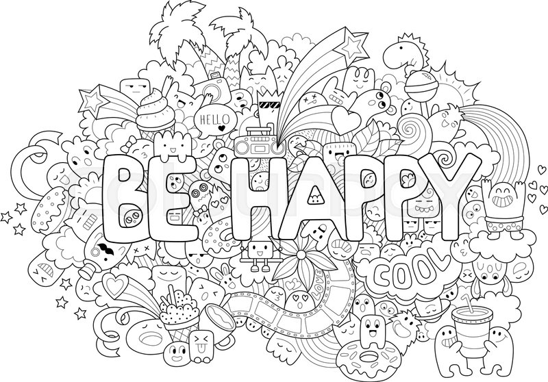 Printable Coloring Page For Adults With Cartoon Characters Hand Drawn Vector Illustration Freehand Sketch Adult Anti Stress Book