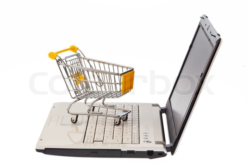a shopping cart and computer keyboard symbolic of shopping on the internet and oline shopping. Black Bedroom Furniture Sets. Home Design Ideas