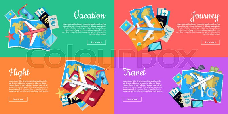 Flight, vacation, journey, travel web banners set. Aircraft, luggage, map, tickets, passport, diving mask, starfish flat vector illustrations For travel agency airline company landing page design, vector
