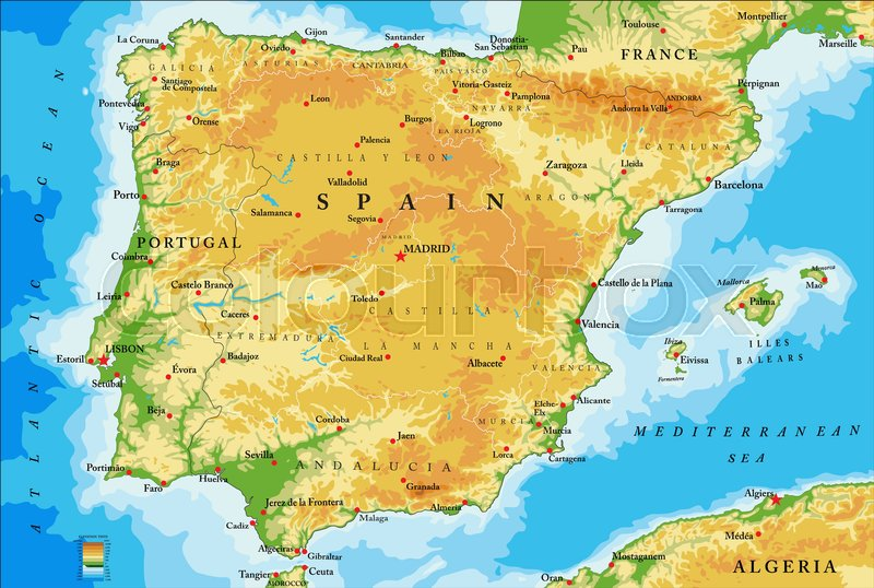 Big Map Of Spain.Highly Detailed Physical Map Of Stock Vector Colourbox
