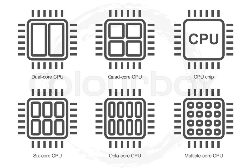 processor icon set  dual quad six octa core cpu icons
