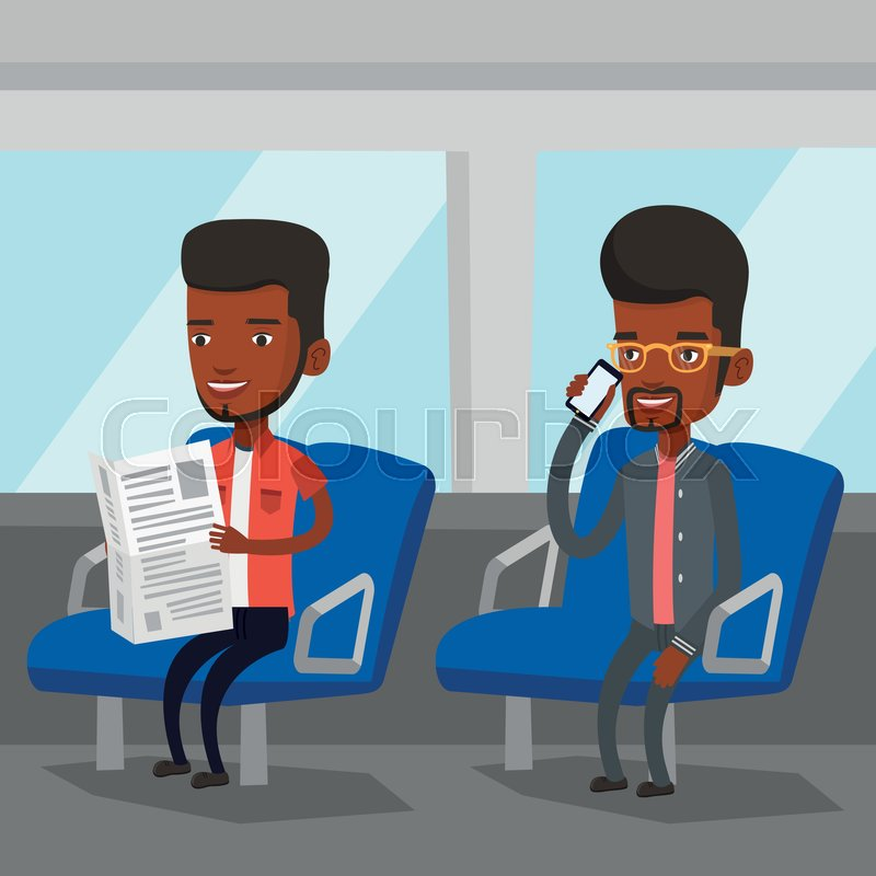 Man using mobile phone while traveling by public transport. African man reading newspaper in public transport. People traveling by public transport. Vector flat design illustration. Square layout, vector
