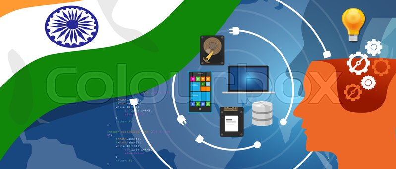 India IT information technology digital infrastructure connecting business data via internet network using computer software an electronic innovation vector, vector