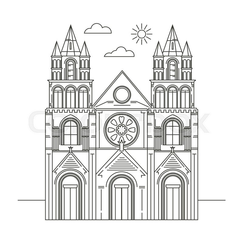 Interesting places Ireland. City. Architecture. Flat trend line illustration. Suitable for travel agencies design template, vector