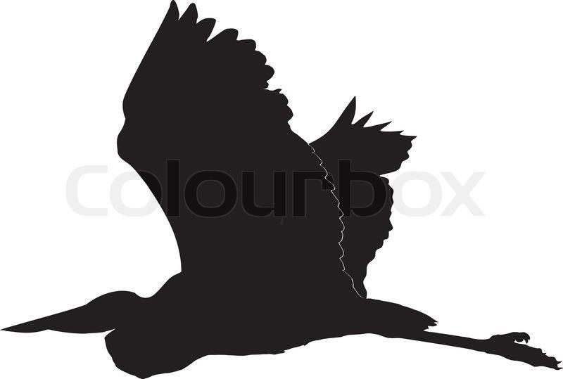silhouette of egret stock vector colourbox
