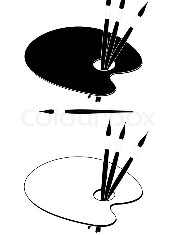 Palette (black and white) and paint brushes - symbol of ...