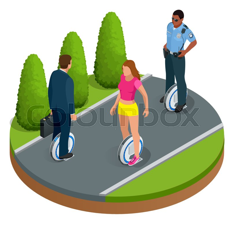 People on One-wheeled Self-balancing electric scooter vector isometric illustrations. Intelligent and fashionable personal transportation tool with interactive function. Concise, fashionable design, vector