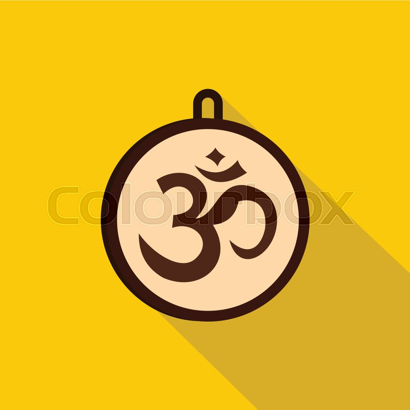 Hindu Om Symbol Icon Flat Illustration Of Hindu Om Symbol Vector