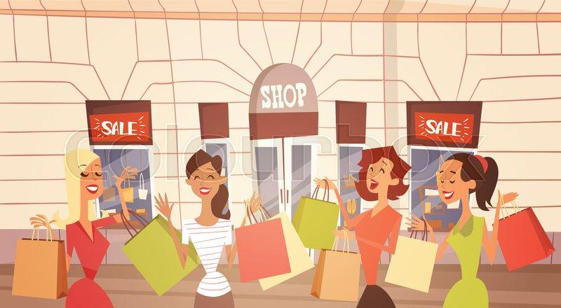 5816223cf6 Cartoon Woman Group With Shopping Bag ...   Stock Vector   Colourbox