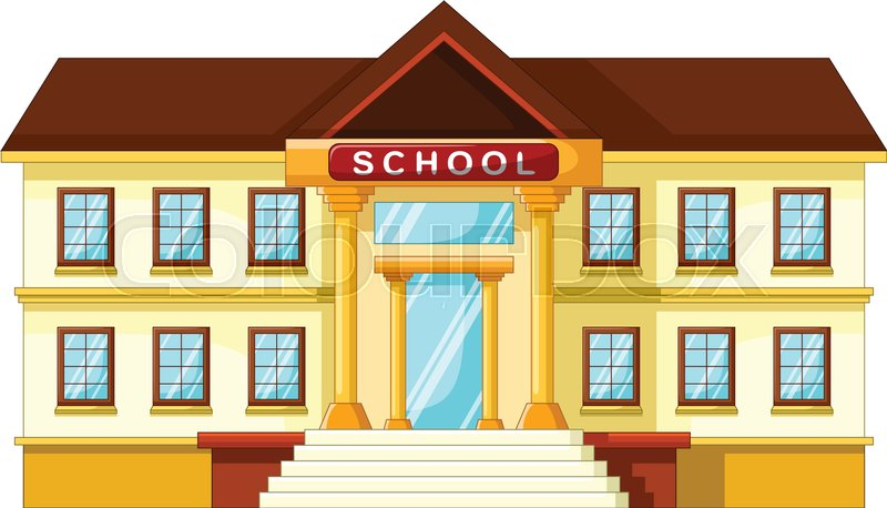 vector illustration of school building cartoon stock vector rh colourbox com cartoon school building with fish cartoon school building images