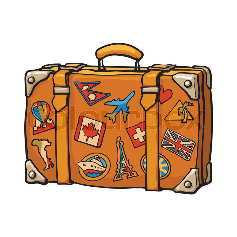 hand drawn retro style travel suitcase with colorful vintage luggage clipart Vintage Suitcase Clip Art