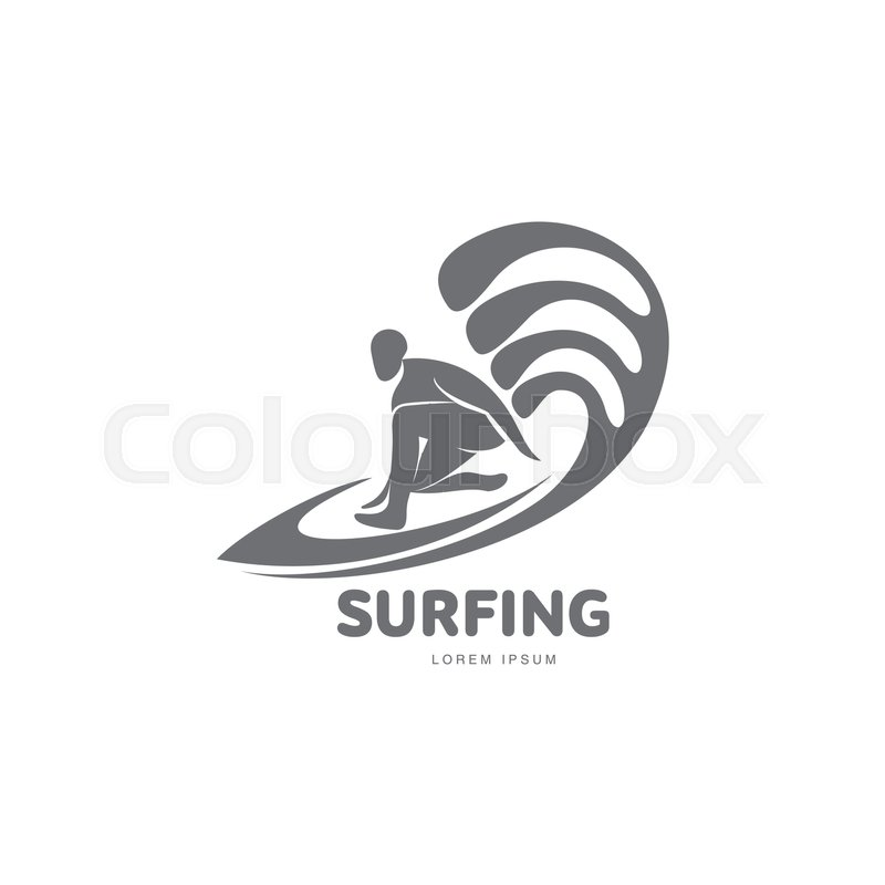black and white graphic surfing logo template with surfer silhouette