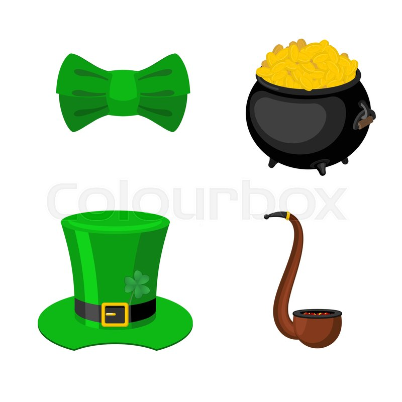 St Patrick 39 S Day Icon Set Leprechaun Accessory Pot Of