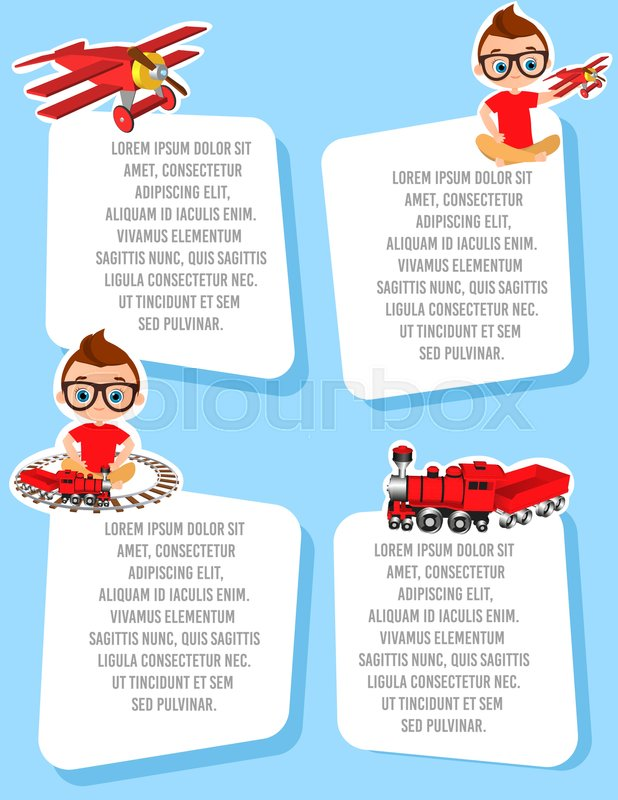 Banner with funny cartoon kids template advertising brochure with banner with funny cartoon kids template advertising brochure with space for text young boy with glasses and toy flat design vector illustration eps 10 maxwellsz