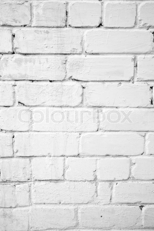 Background With Old White Painted Brick Wall Stock Photo