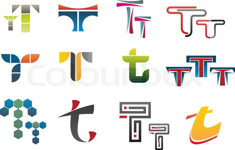 Set of alphabet symbols of letter t stock vector colourbox for Mobel 9 buchstaben