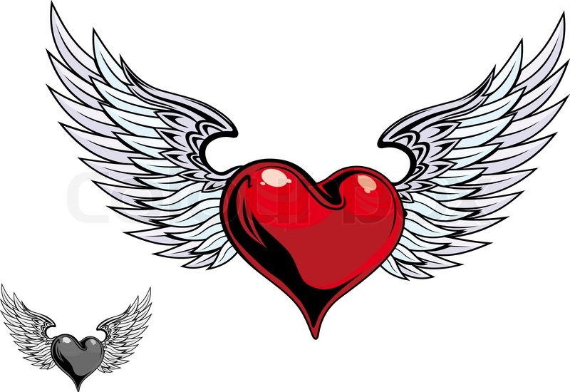 Retro Color Heart With Wings For Stock Vector Colourbox