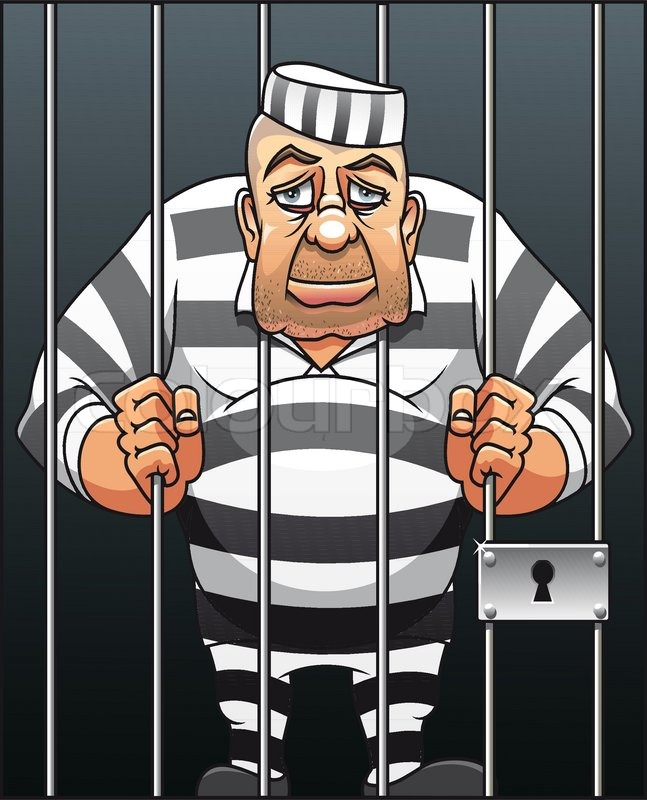 Captured Danger Prisoner In Cartoon Style For Justice