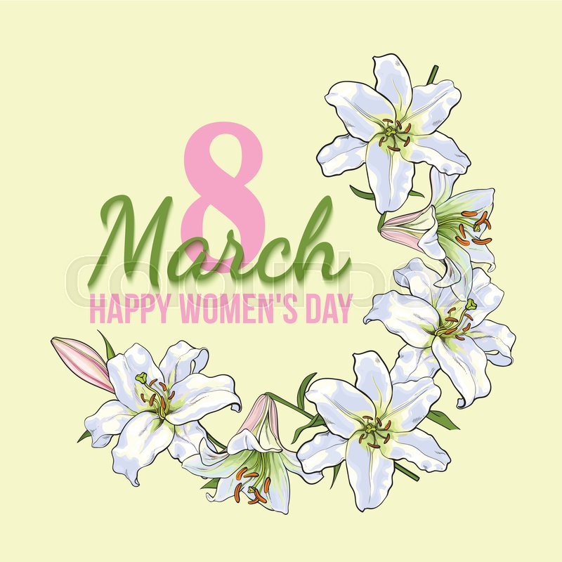 Happy womens day 8 march greeting card poster banner design with happy womens day 8 march greeting card poster banner design with wreath of white lily flowers sketch style vector illustration m4hsunfo