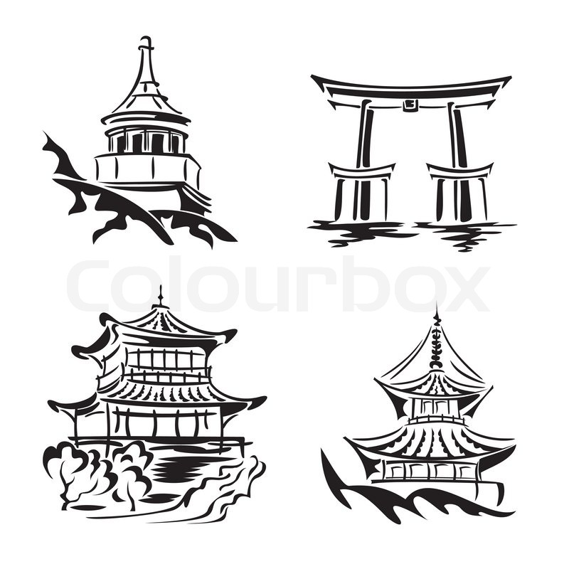 Set vector black and white images asian temples and architecture, vector