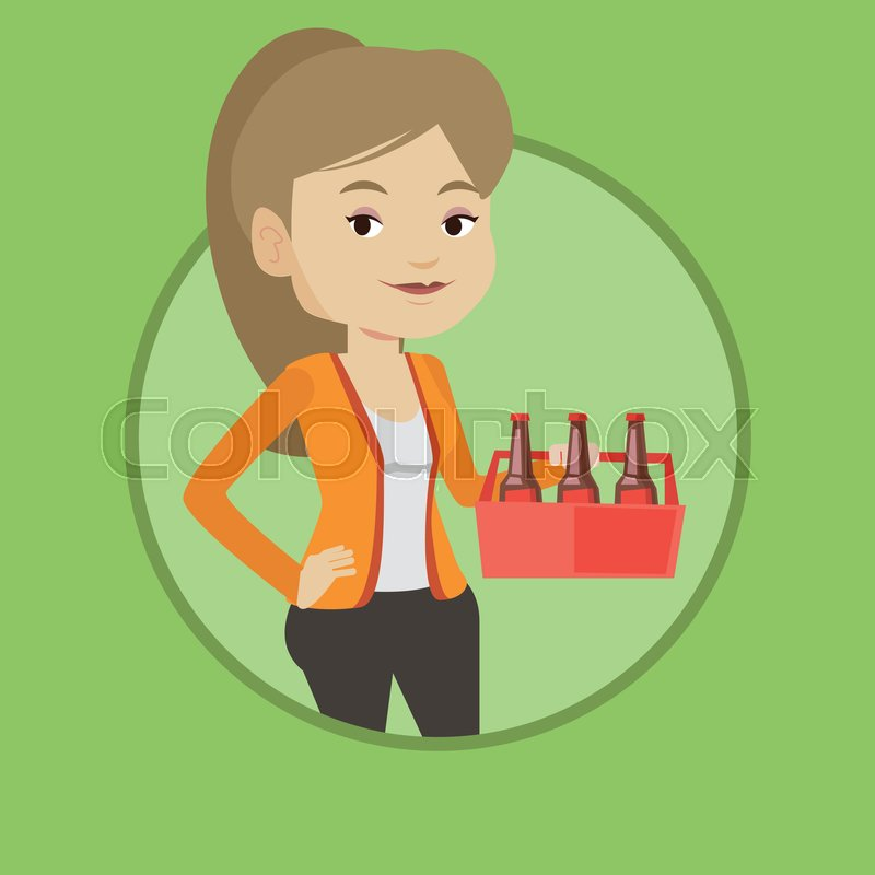 Young Happy Woman Holding Pack Of Stock Vector Colourbox