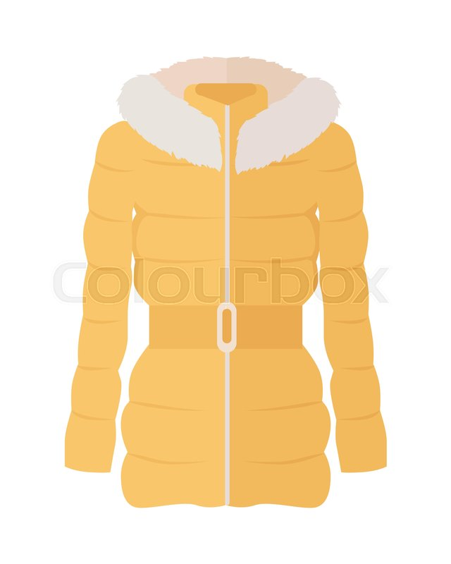 9b3936aff34 Yellow down jacket with fur collar ... | Stock vector | Colourbox
