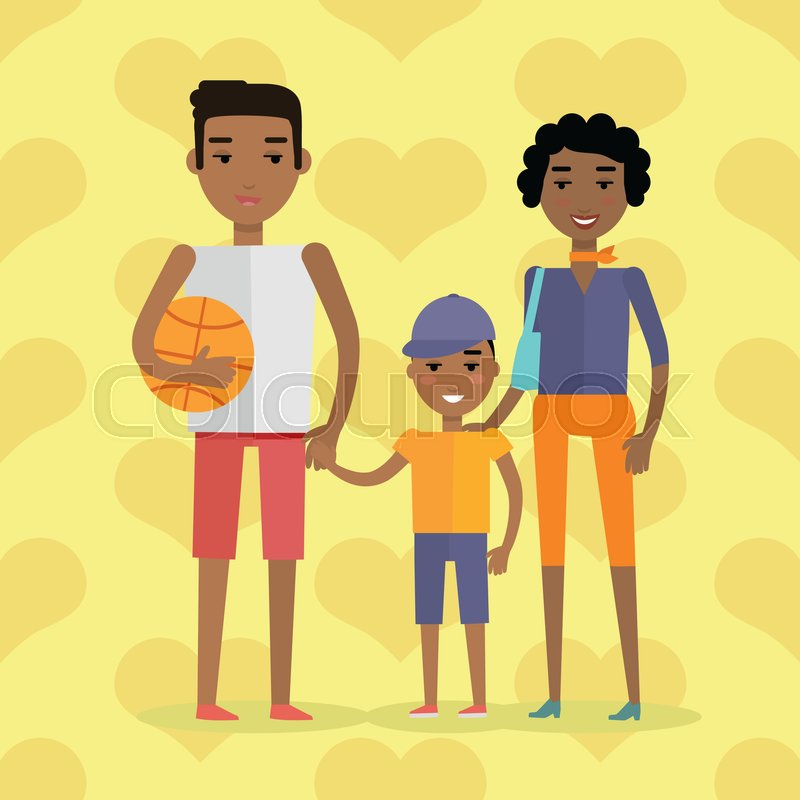 African black people. Afro american family. Husband, wife and child