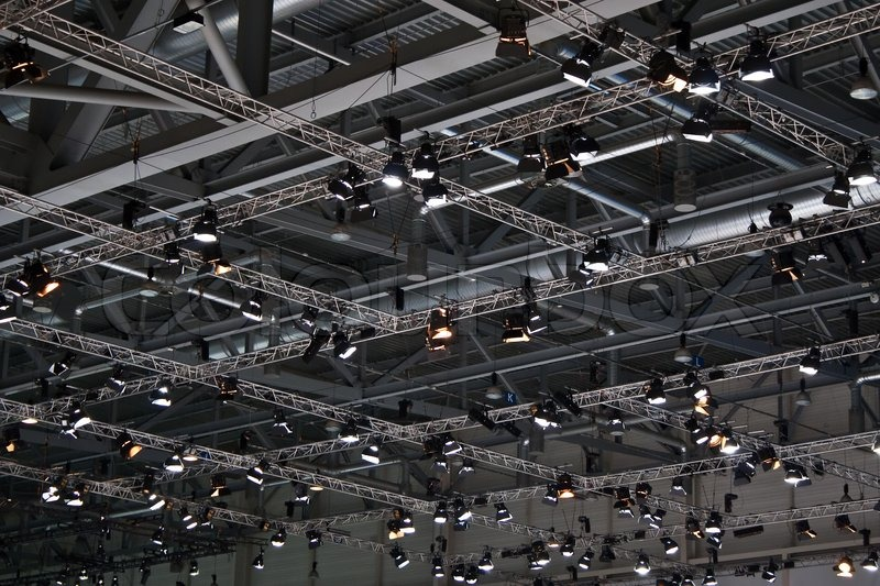 Exhibition D Model Free Download : Ceiling with lights in the exhibition center stock photo