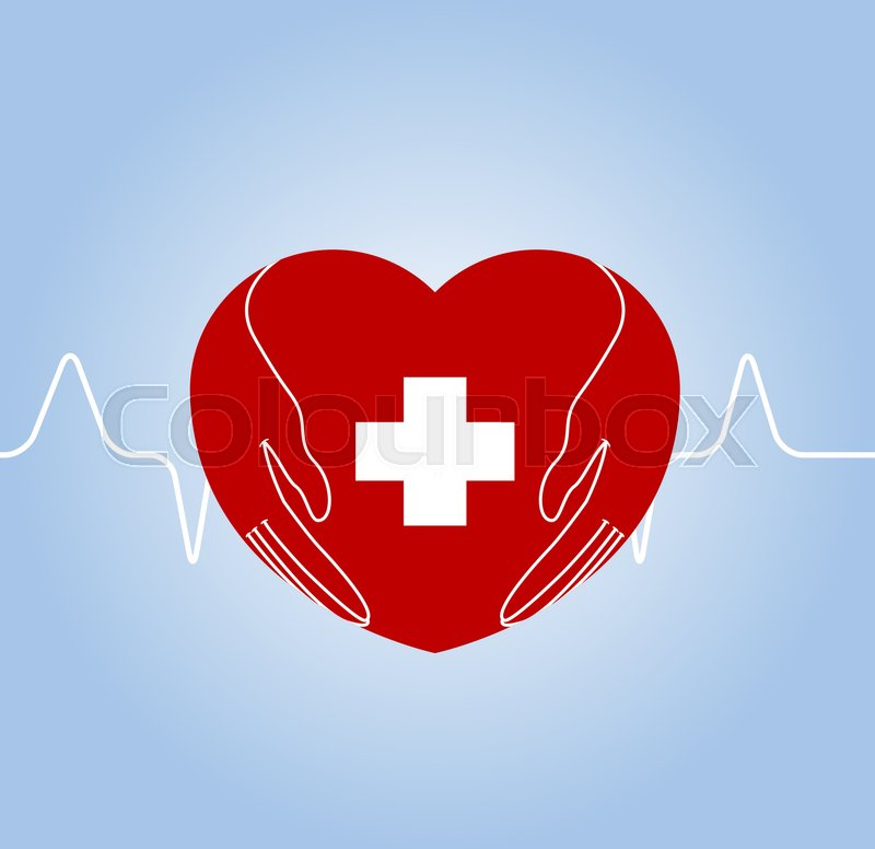 Heart With Hands Holding Cross As Symbol Of Medical Care Vector