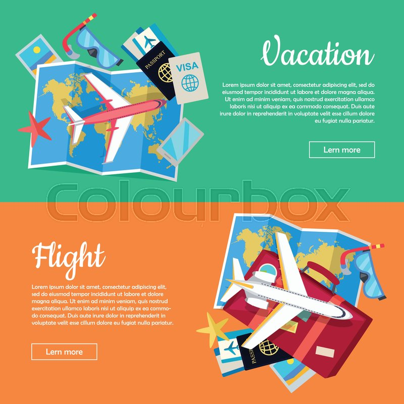 Vacation and flight web banners aircraft luggage world map air stock vector of vacation and flight web banners aircraft luggage world map gumiabroncs Images