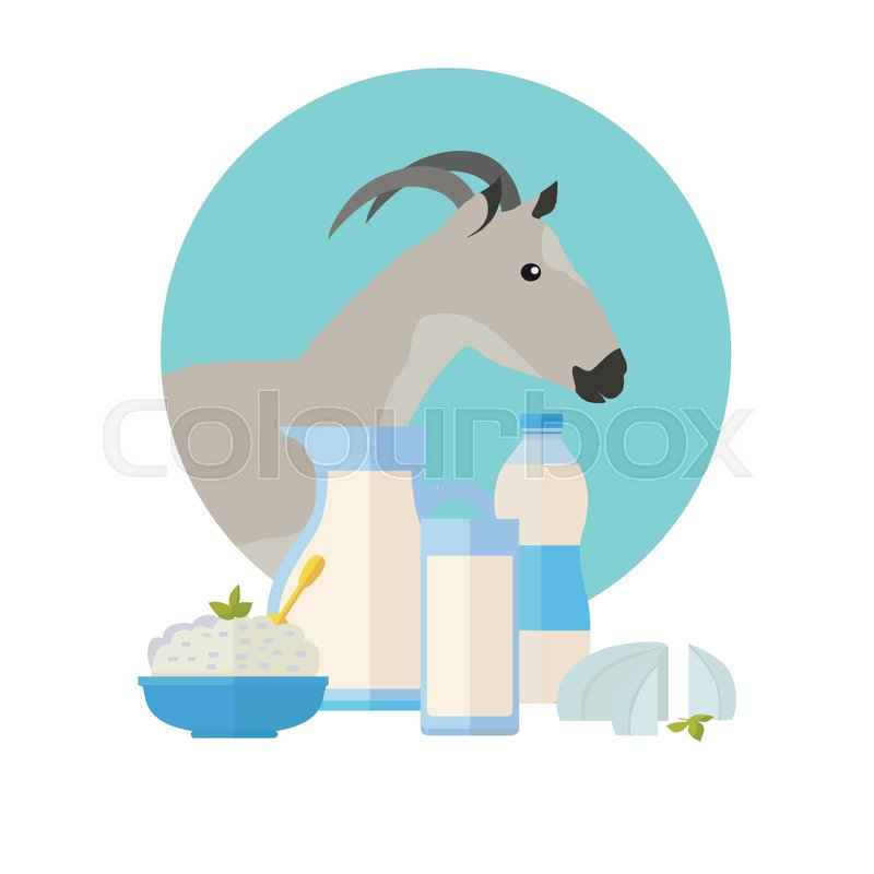 Goat icon with milk products  Goat     | Stock vector