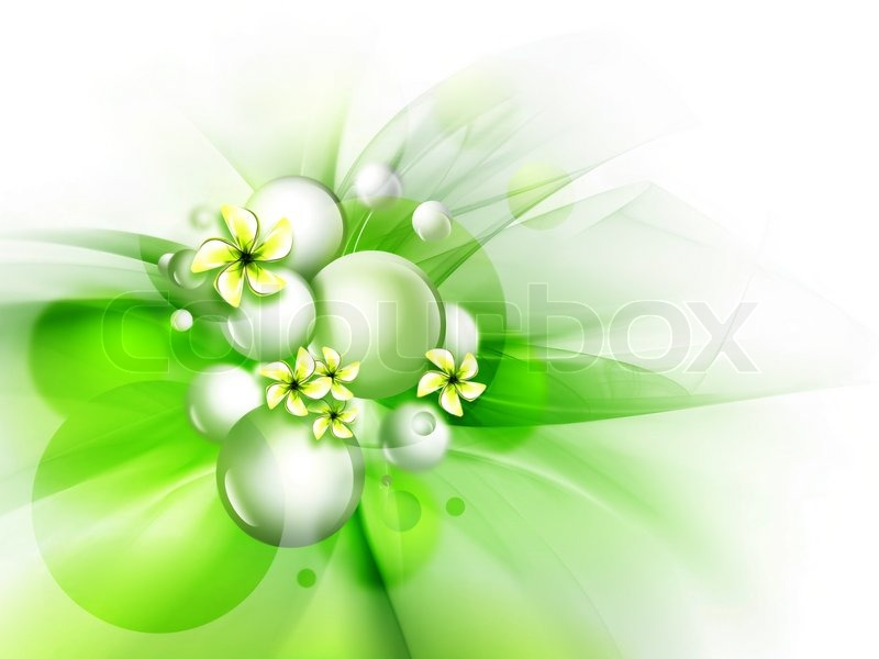 Beautiful green background with flowers for your design | Stock Photo | Colourbox - photo#29
