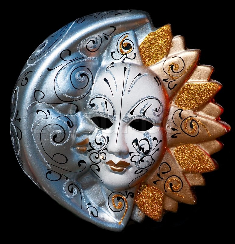 traditional venice mask with colored decoration stock photo