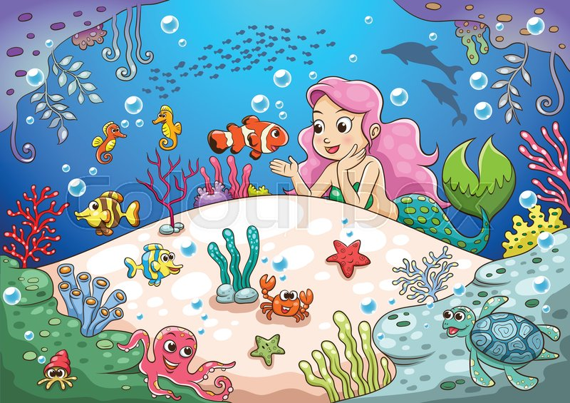 cute cartoon mermaid underwater world eps10 file simple gradients no effects no mesh no transparencies all in separate group for easy editing stock