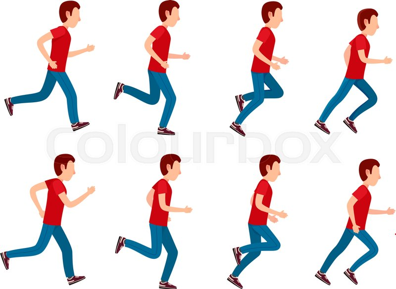 Collection of running man icons. Animation sprite set frame loop ...