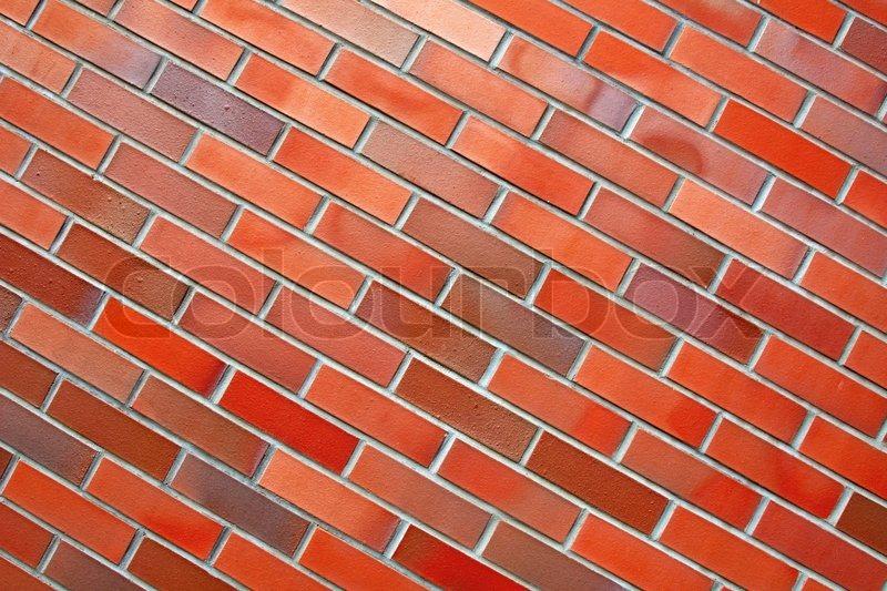 Diagonal Brick Wall Bright Wallpaper Stock Photo