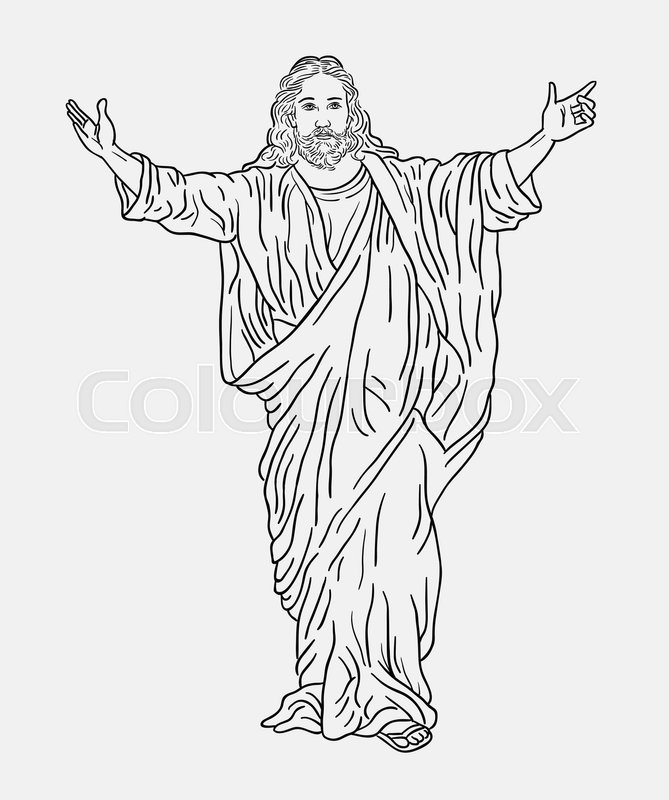 Line Drawing Jesus : Jesus christ religion line art drawing style good use for