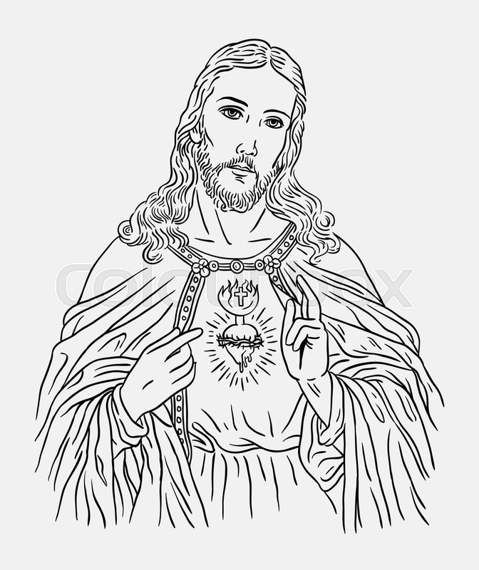 Line Art Illustration : Jesus christ catholic religion art line drawing style