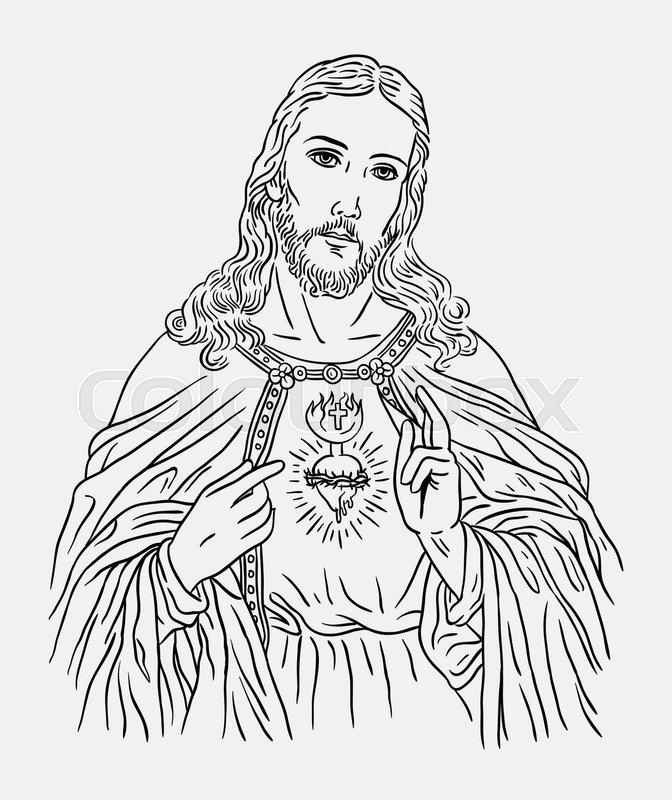 Line Drawing Jesus Christ : Jesus christ catholic religion art line drawing style