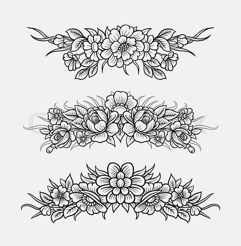 flower and leaves ornament decoration line art drawing style good