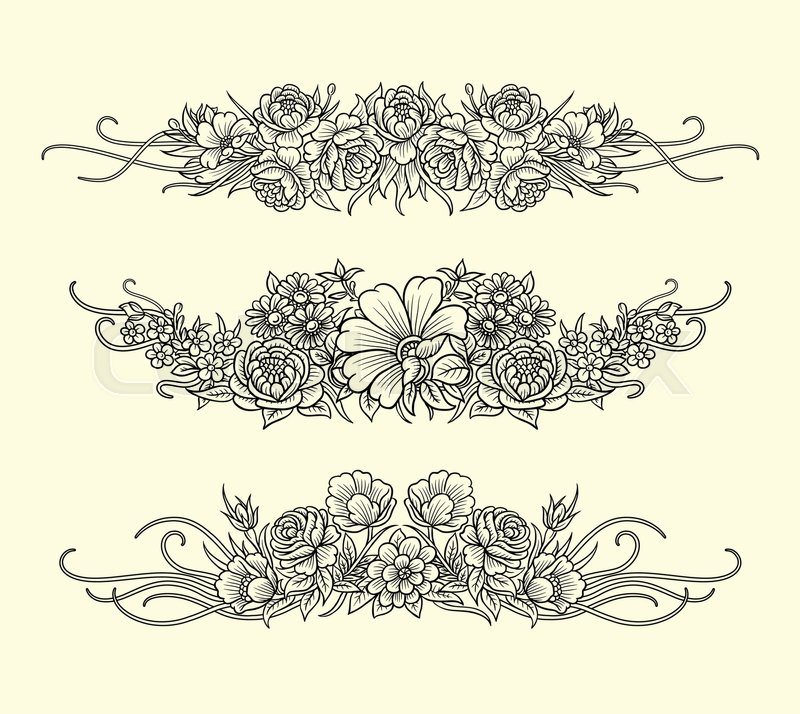 Flowers and leaves ornament decoration line art drawing style good use for symbol decoration element sign sticker or any design you want vector