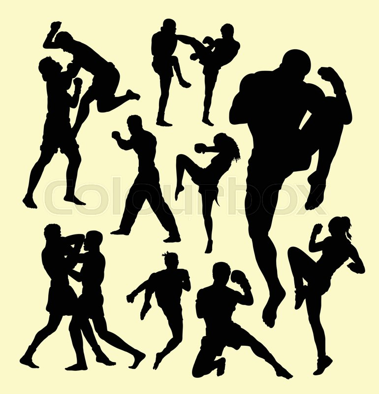 Muay Thai Boxing Sport Silhouette Individual And Fighting Good Use