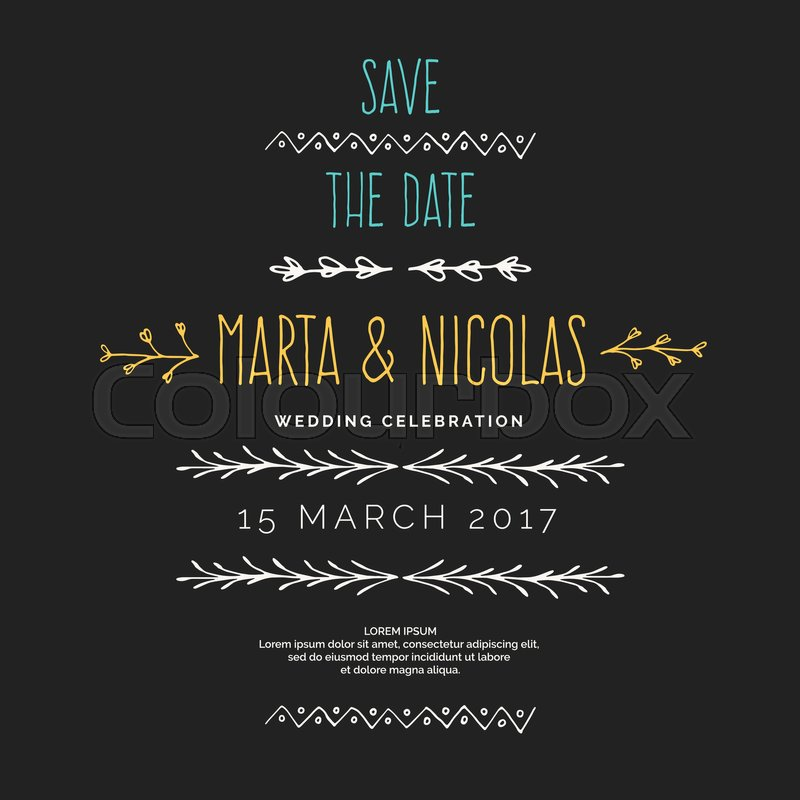 Save The Date Hand Drawn Line Border For Wedding Invitations