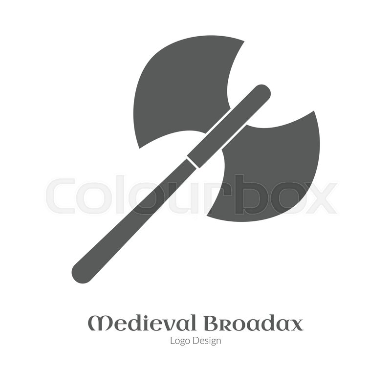 Medieval Guard Double Axe Broadax Single Logo In Black Simple