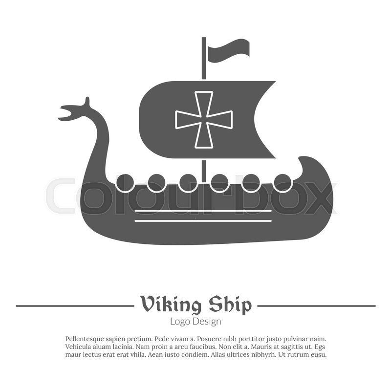 Medieval Viking ship, boat. Single logo in modern black simple style ...