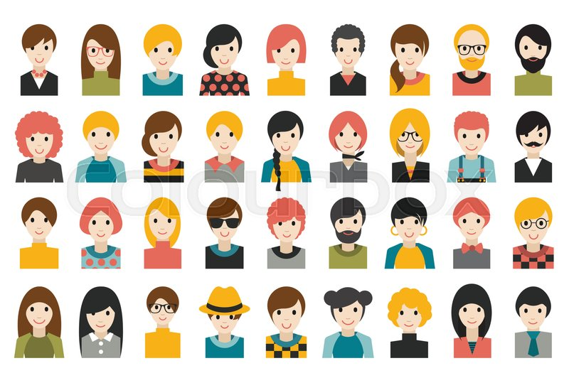Mega Set Of Diverse People Heads Avatars Isolated On