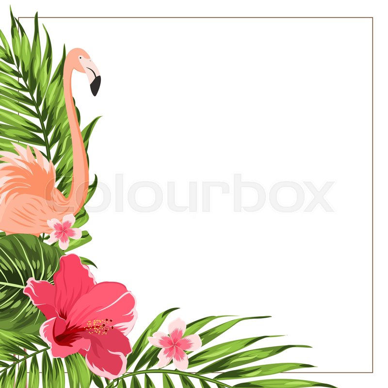 tropical exotic greenery corner border frame template