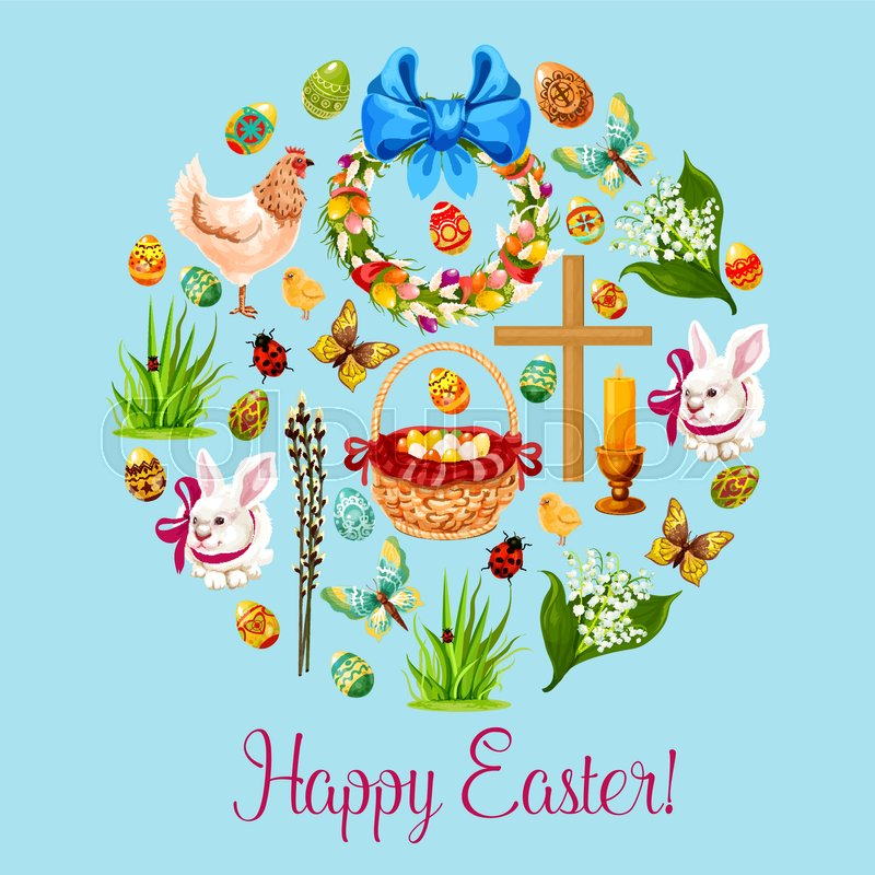 Awesome Easter Holiday Round Symbol, Composed Of Easter Egg, Chicken, Rabbit Bunny  With Ribbon, Chick, Basket With Decorated Easter Egg, Wreath With Spring  Flowers ... Design Inspirations